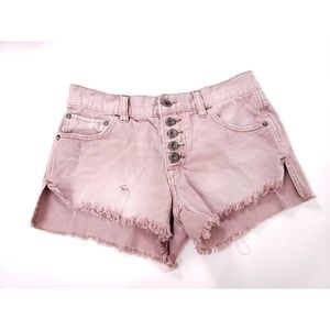 Free People Button Fly Raw Edge Distress Shorts